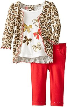 Young Hearts Baby Girls 2 Piece Animal Print Bow Pant Set Light Beige 18 Months
