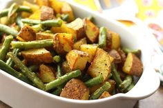 Quick, easy roast, delicious smoky-curry flavors.  Turmeric Roasted Green Beans and Potatoes