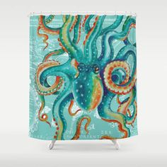 Teal Octopus On Light Teal Vintage Map Shower Curtain by Seven Sirens Studios - by Giant Pacific Octopus, Octopus Design, Name Embroidery, Light Teal, Bathroom Shower Curtains, Map, Hooks, Artwork, Pattern