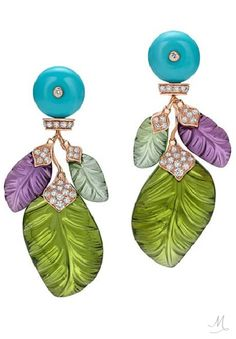 """Bvlgari """"The Four Seasons"""" Collection Earrings in pink gold, diamonds, tourmalines, amethysts and still carved green olivine-shaped leaves,"""