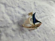 Vintage Enamel Sailboat Brooch Gold Tone Sailing Boat Brooch
