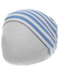 Jersey-Mütze gestreift in mittelblau