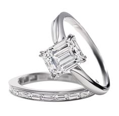Emerald-Cut; Harry Winston Emerald-Cut Diamond Solitaire Engagement Ring