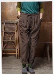 Pantalon uni en coton/modal