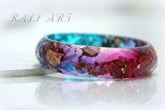 Resin bracelet Bangle gold fleakes Resin bangle by RALIJEWELLERY