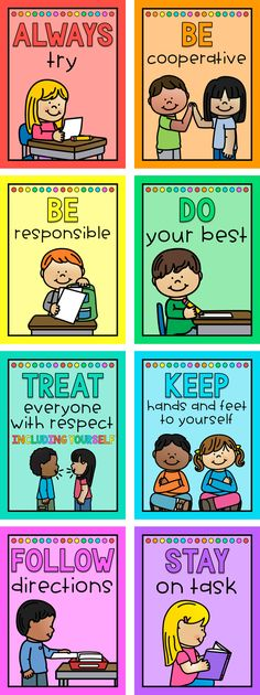 Classroom Rules Posters for Elementary Students