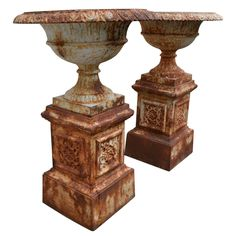 Pair of large cast iron urns on bases france 19th century urn 1stdibs pair of large tazza garden urns of iron on bases 19th c workwithnaturefo