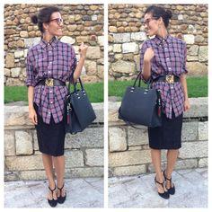 Camisa tartán & falda Lápiz