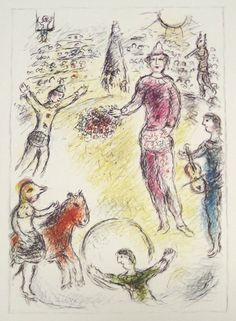Marc Chagall -  Les clowns musiciens, 1981 offset lithograph from Catalogue Raisonne issue #141 15 x 11.25 inches