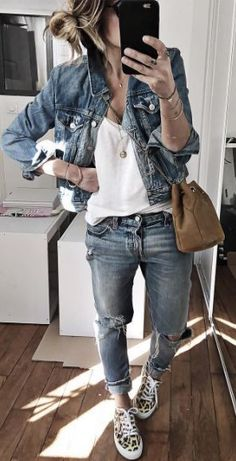 street style perfection / denim jacket + white tee + ripped jeans + sneakers + bag