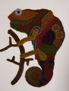 Freeform crocheted Kameleon by Ann*Benoot, inspired by Zentangle drawing of power animals. Textile art 'painting' 40x50 cm. The proceeds of the sale of my artwork goes to charity.