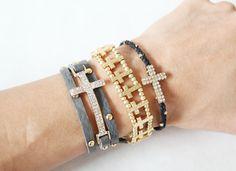 New!!! MadeByGirl: Crystal Cross String Bracelet (Black)