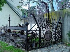 industrial scrap metal fence - Google Search