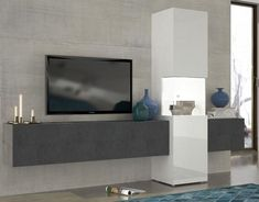Incontro, modern TV and display unit in white gloss/grey report finish with optional lights