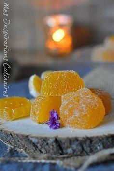 Recette pâte de fruits à la mandarine Pate Sucree Recipe, Candy Recipes, Dessert Recipes, Mandarine Recipes, Fruit Pastilles, Chutney, Veggie Chips, Candied Fruit, Jam And Jelly