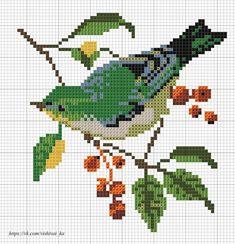 Cross stitch chart, a bird Cross Stitch Cards, Cross Stitch Animals, Counted Cross Stitch Kits, Cross Stitch Flowers, Cross Stitching, Cross Stitch Embroidery, Cross Stitch Designs, Cross Stitch Patterns, Pixel Pattern