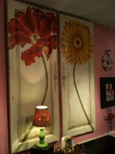 DecRenew Interiors: My Eclectic Imaginary Room. Flowers painted on cabinet doors. Old Doors, Old Cabinet Doors, Repurposed Furniture, Painted Furniture, Repurposed Shutters, Salvaged Doors, Furniture Design, Cabinet Door Crafts, Wall Decor