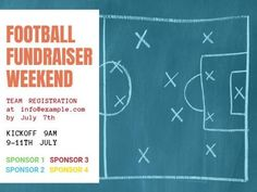 A Football post template for a fundraiser event with a chalkboard in the background.