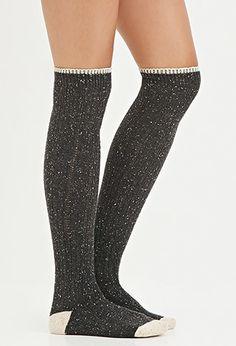 Marled Knit Over-the-Knee Socks | Forever 21 - 2000140761