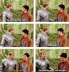 Bloopers :D And I find it even funnier because they did it in American surfer accents XD Merlin Funny, Merlin Memes, Merlin Quotes, Merlin And Arthur, King Arthur, Merlin Fandom, Merlin Colin Morgan, Merlin Cast, Bradley James