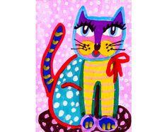 Whimsical Art Cat Wall Art Art For Kids Funny by AGirlAnOwlAndACat