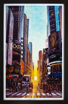 Oil Painting, Original Oil Painting Manhattan New York City Times Square Landscape Modern Large Art by artist Victoria Stepanovska Oil Painting Lessons, Oil Painting Techniques, Painting Videos, City Landscape, Landscape Paintings, Victoria Art, Step By Step Painting, Painting Still Life, Oil Painting Abstract