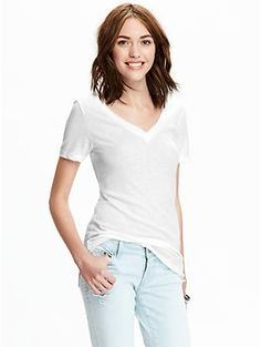 Womens Vintage-Style V-Neck Tees - material: moderate weight: light
