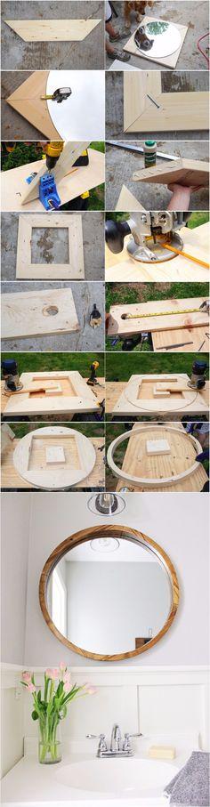 Espejo redondo con marco DIY - angelamariemade.com - DIY Round Wood Mirror