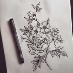 Rose, dog rose and periwinkle Et Tattoo, Dog Tattoos, Tattoo Drawings, Body Art Tattoos, Small Tattoos, Sleeve Tattoos, Flower Tattoo On Ribs, Birth Flower Tattoos, Flower Tattoo Designs