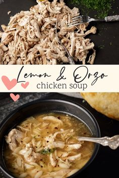 Lemon chicken orzo soup is the ultimate comfort food. Simple to make but packed with flavor. A cozy soup for cold winter days and perfect for when you're not feeling great. Fall Recipes, Soup Recipes, Chicken Recipes, One Pot Dinners, Lemon Chicken Orzo Soup, Delicious Dinner Recipes, Healthy Crockpot Recipes, Savoury Dishes, Winter Food