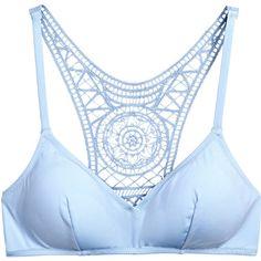 H&M Bikini Top with Lace Back $14.99 ($15) ❤ liked on Polyvore featuring swimwear, bikinis, bikini tops, light blue bikini top, lace two piece, swim tops, racerback swim top and racer back bikini