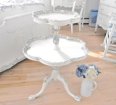 Antique table two tier shabby chic furniture by backporchco, $215.00