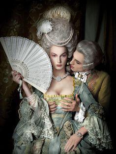 The Baroque/Rococo era was so elegant. Rococo Fashion, Vintage Fashion, Victorian Fashion, Vintage Clothing, Baroque, Foto Fashion, 18th Century Fashion, Rococo Style, Historical Costume