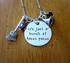 Hocus Pocus Inspired Halloween Necklace. It's just a bunch of Hocus Pocus.  Swarovski Elements Crystal. Silver colored. Hand Stamped.