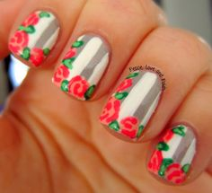 """vintage roses nail art on grey & white stripes (peace love and polish : """"Essence Grey-t to be Here, then added the white stripes using Nina Ultra Pro French White. I added the flowers using Orly Cotton Candy & Julep Neicy. The leaves were done with SH Xtreme Wear Going Green & Color Club Twiggie"""")"""