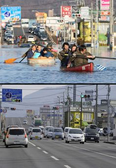 This combination of pictures shows people evacuating with small boats down a road flooded by the tsunami in the city of Ishinomaki in Miyagi prefecture on March 12, 2011 (top) and the same area on January 13, 2012 (bottom).