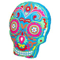Fiesta skull cushion blue