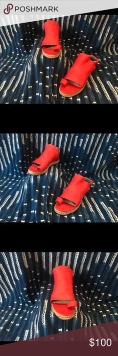 Red Leather Balanciaga Sandals Espadrilles Woven Sole Red Leather Sandals Only wore twice ! Balenciaga Shoes Sandals