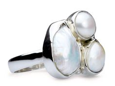 Jean - Three White Baroque Pearl Ring