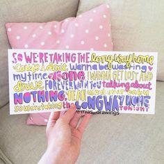 5sos Lyric Art, Lyric Quotes, Music Lyrics, 5 Seconds Of Summer Lyrics, Lyric Drawings, Lyrics To Live By, Long Way Home, Summer Songs, Inspirational Music
