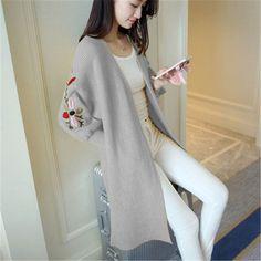 Autumn Winter Casual Cardigan Sweater Women Coat Fasihon Foral Embroidered Lantern Sleeve Loose Long Cardigan Sweater Female