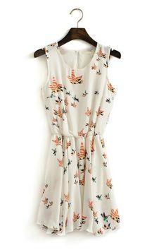 White Bird Print Round Neck Chiffon Dress