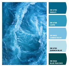 ocean blues color palette- Perfect for a Bathroom Paint Schemes, Colour Schemes, Color Combos, Wall Colors, House Colors, Blue Colour Palette, Beach Color Palettes, Paint Colors For Home, Deco Design