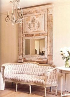 white living area shabby chic vintage The half columns and mirror and fireplace surround hanging on my living room wall French Decor, French Country Decorating, Country French, My Living Room, Living Spaces, Style Français, French Style, Swedish Style, Swedish Design