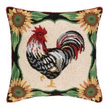 French Rooster Hook Throw Wool Throw Pillow