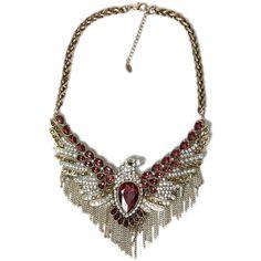 Zara Gem Encrusted Eagle Necklace ($30) ❤ liked on Polyvore