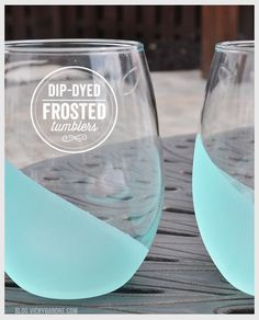 Dip Dyed Frosted Tumblers. What a great way to add color!