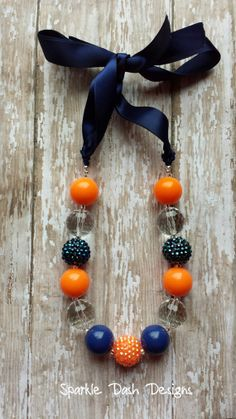 """""""Denver Broncos Superfan"""" Superbowl inspired- Chunky Beaded Satin Ribbon Tie Necklace by Sparkle Dash Designs on Facebook & Etsy :)"""