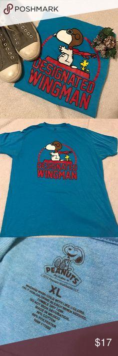 Men's blue peanuts wingman tshirt size XL Designated wingman snoopy t shirt size XL. Worn twice. Peanuts Shirts Tees - Short Sleeve