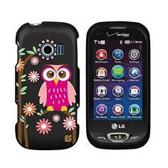 Premium Protection Slim Light Weight 2 piece Snap On Non-Slip Matte Hard Shell Rubber Coated Rubberized Phone Case Cover With Design For LG Extravert 2 II VN280 - Daisy Owl - Black - Retail Packaging Beyond Cell - I love this style